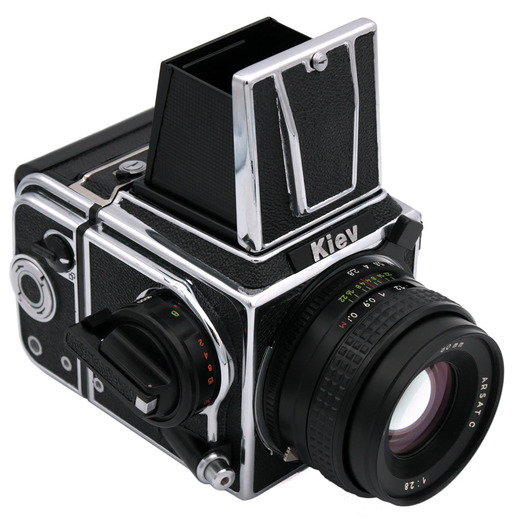 Kiev 88CM (chrome) camera WLF - front